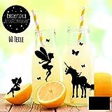 ilka parey wandtattoo-welt Aufkleber Sticker Glassticker Partyaufkleber Elfen Feen und Einhörner mit Schmetterlingen M2011 - ausgewählte Farbe: *schwarz*