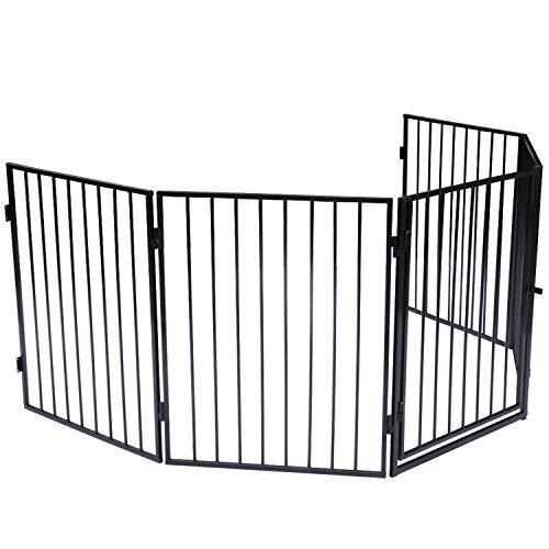 Juskys Kaminschutzgitter XXL 300 cm 5-teilig   Metall   schwarz   Umrandung für Kamin und Ofen   Laufgitter Schutzgitter Absperrgitter Ofenschutzgitter