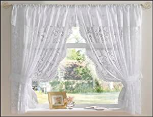 White Andrea Net Curtain Set 100 X 45 Jacquard Lace Including Tie Backs And Attached Pelmet