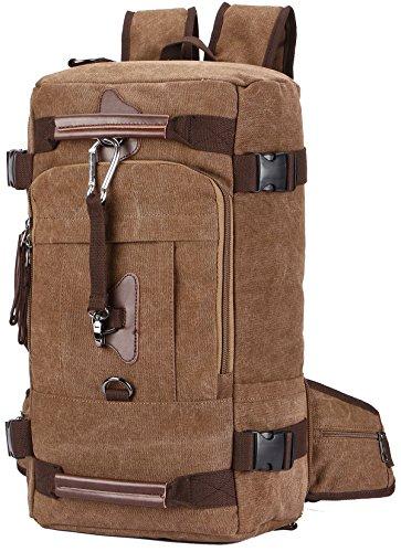 Sacs à Dos, Aidonger Sac à bandoulière Unisexe Vintage Canvas Backpack Sacs à Dos en Toile 45L Sac à Dos de Randonnée 29 * 19 * 49cm-Café
