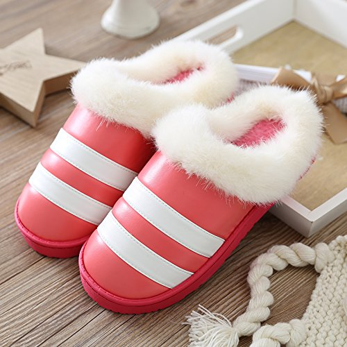 Aemember inverno pantofole di cotone con cotone pantofole per Donna Home, interni di spessore di fondo anti slittamento pantofole in pelle Watermelon Red