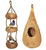 BRAMMA coconut fiber COMBO of nest and swing for pet birds Finches sparrows