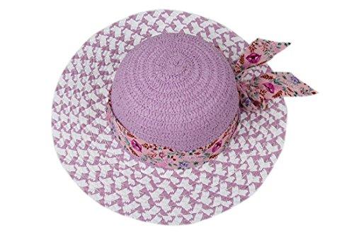 Dantiya-Enfant chapeau de soleil à large bord mode été plage décoration de bande floral pourpre
