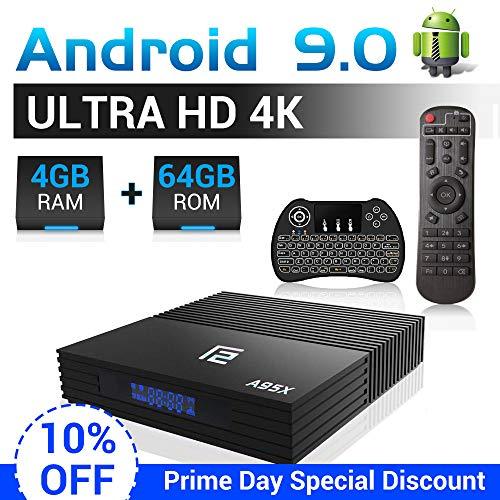 A95X Android TV Box F2 mit Tastatur【4G+64G】 Android 9.0 TV Box mit S905X2 Quad-core ARM Cortex-A53/WiFi 2.4G/5.0G /Bluetooth 4.2/ 4K HD/USB 3.0/ HDMI 2.0/ H.265 Smart tv Box