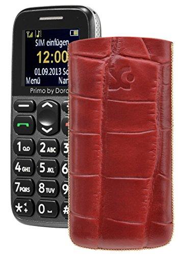 Primo 365 by Doro / Original Suncase Etui Tasche Leder Etui Handytasche Ledertasche Schutzhülle Case Hülle Lasche *mit Rückzugfunktion* croco-rot