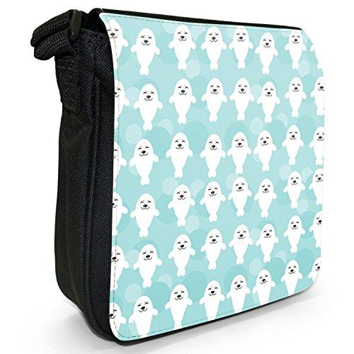 Tenero animale Unicorno Pattern Small Nero Tela Borsa a tracolla, taglia S Smiling Happy White Seals