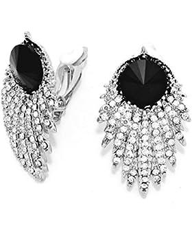 Schmuckanthony Abendschmuck Ball Hochzeit Ohrclips Clips Clip On Ohrringe Kristall klar Transparent Schwarz 4cm