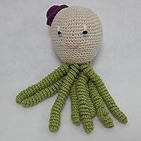 Pulpo amigurumi de ganchillo para recién nacido en color verde-morado.Pulpo de ganchillo - crochet para bebé.