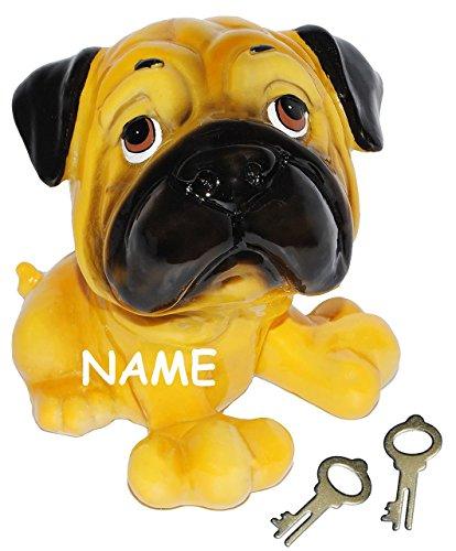 alles-meine.de GmbH Spardose -  Hund - Mops / englische Bulldoge / Dogge  - incl. Name - mit Schlüssel - stabile Sparbüchse aus Kunstharz - Hundewelpe - Comic Hunde / Hundeschu..