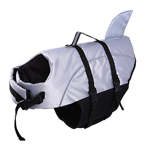 QBLEEV Schwimmweste für Hunde, Größe XL, Schwimmweste für Welpen, schwimmfähig, schwimmfähig, mit reflektierenden Riemen, XXL, Silber