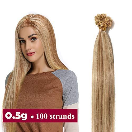 Extension cheratina capelli veri 100 ciocche 50g #12p613 marrone oro mix biondo chiarissimo - 40cm u tip hair extensions 100% remy human hair