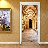 WELQUN Adesivi 3D Arco Corridoio Carta da Parati Moderna Creativa Adesivo per Porte Fai da Te Decorazioni per la casa PVC Autoadesivo