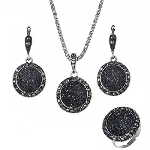 Schmuck damen Set Mode Schwarz Runde Kies Harz Halskette Ohrringe Ringe Vier Sätze (Schwarz) (Womens Kies)