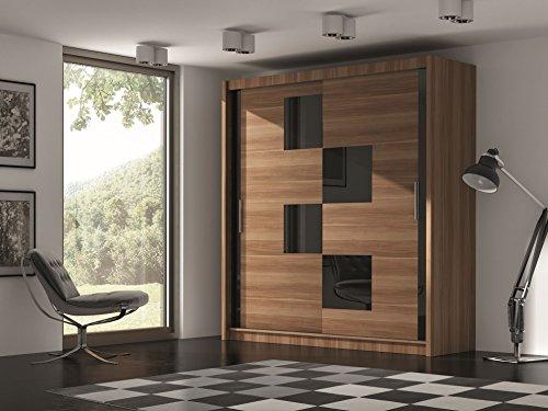 Kleiderschrank MALTA V in nussbaumfarben + schwarzgetöntes Glas , mit rechteckigem Muster und Schiebetüren, Breite: 203 cm, Höhe: 215 cm, Tiefe: 61...
