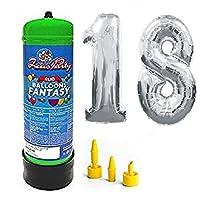 Bombola gas elio da 2,2 litri più palloncini in mylar alti 1 metri color argento per festeggiare al meglio il tuo compleanno