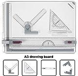 Nakey - Tavola da Disegno Multifunzione A3 in plastica, 49 x 35,5 cm, con Movimento Parallelo, Angolo Regolabile, Sistema metrico per lavori Professionali