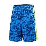 1Bests Pantaloncini da corsa di pallacanestro correnti maschili Pantaloncini sottili di allenamento sottile di forma traspirante con tasca (Camo blue, XL)