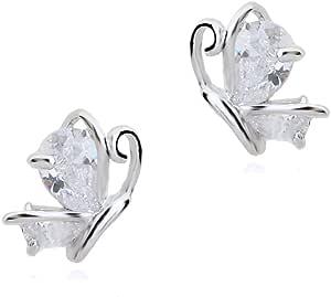 Bianco Farfalle Orecchini a lobo con Cristalli austriaci di zirconi 18 kt placcato oro bianco per donne e ragazze