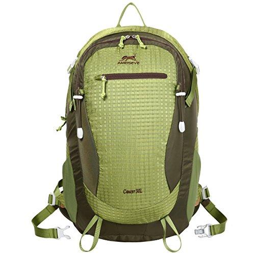 Eshow Unisex Erwachsene Nylon Wasserdicht Trekkingrucksack Wanderrucksack Camping Rucksack Outdoor 30L Grün01