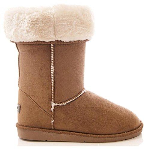 d0144ca80 Eyesontoes Ladies Womens Mid Calf Warm Winter Fur Lined Snugg Hug Grip Sole  Boots, Chestnut