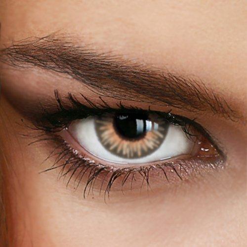 Braune Jahres-Kontaktlinsen Rainbow HONEY - MIT und OHNE Stärke in Light-Blue - von LUXDELUX® - ohne Stärke (+/- 0.00 DPT)