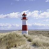 Artland Qualitätsbilder | Glasbilder Deko Glas Bilder 40 x 40 cm Nordsee Landschaft Strand Meer Leuchtturm Sylt D8QD