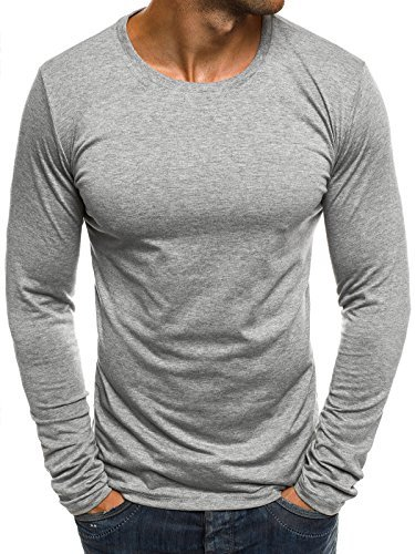 OZONEE Herren Longsleeve Langarmshirt Sweatshirt Motiv Basic Fitness Sport Gym Training Täglichen Crewneck Modern Streetwear J.Style 2088 L GRAU