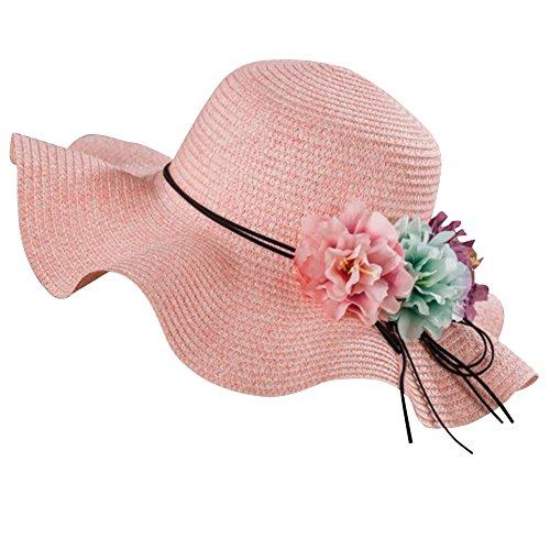 Femme Fille Chapeau de Paille Anti-soleil avec Fleur Chapeau de Plage à Larges Bords Pink pour Enfant