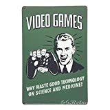 Toddrick Videojuegos, ¿por qué desperdiciar Buena tecnología en Ciencia y Medicina? Letrero Retro de Estilo Vintage para Cocina, Bar, Pub, cafetería, Tienda, decoración de 8 x 12 Pulgadas