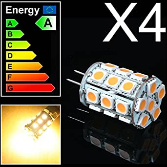 Mia.home ®  4  x ampoule lED avec douille à broches gY6.35 6,35 5050 sMD blanc chaud nG4118 12 v dC