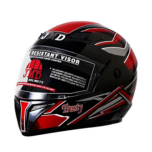 TRUSTY NEW DECOR Full Face Helmet(L)(Glossy Black With Red Graphic)