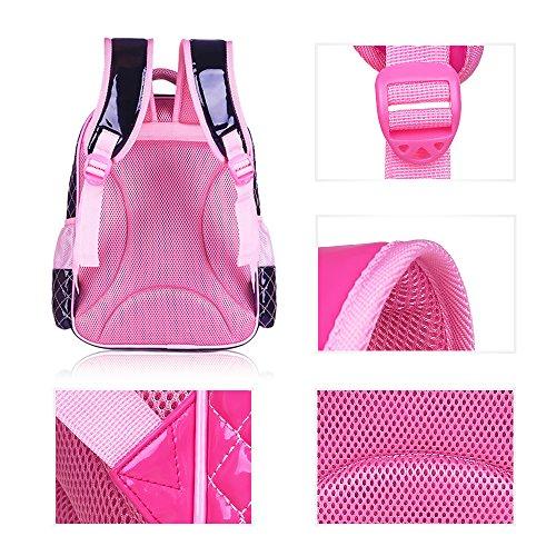 BOZEVON Jungen Mädchen Wasserdichte Rucksack für Kinder Unisex Schulrucksäcke Rucksack für Reisen, Wandern Rosa-B