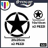 Stick-Up Stickers Lot de 4 Autocollants. Étoiles Militaires - 20 x 20 cm - 10 x 10 cm - 4x4 - Flancs - Capot Jeep Suzuki Offroad - Autocollants pour Voiture - Noir