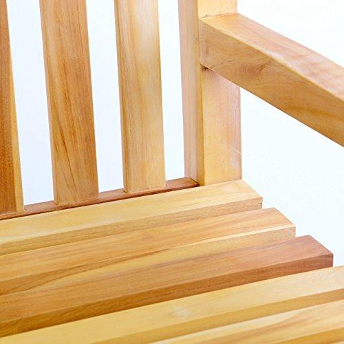 DIVERO 2-Sitzer Bank Holzbank Gartenbank Sitzbank 120 cm – zertifiziertes Teak-Holz unbehandelt hochwertig massiv – reine Handarbeit – wetterfest (Teak natur) - 2