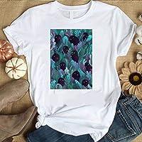 LuoMei Camiseta Estampada Blanca Camiseta de Manga Corta con Cuello en o para Mujer Camisa con Estampado de Algodón PuroComo se muestra, XXL