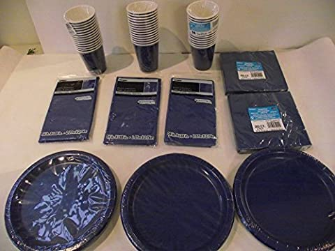 Lot de vaisselle jetable Bleu marine pour 40invités