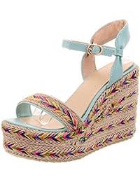 COOLCEPT Zapato Mujer New Peep Toe Talon Aiguille Tacon Alto Al Tobillo Vestir Sandalias Mini Size (32 EU , Beige)