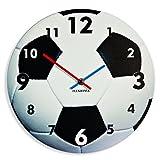 Einzigartige Wanduhr für Kinder Fußball, leise nicht ticken, oval, 30 cm, Acryl, für Kinderzimmer, Kindergarten, Schule, made in EU