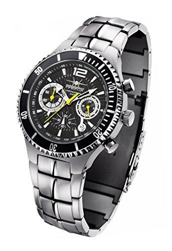 FIREFOX SILVER SURFER FFS13-115 schwarz/grau Herrenuhr Armbanduhr massiv Edelstahl Chronograph Sicherheitsfaltschließe 10 ATM water resistant
