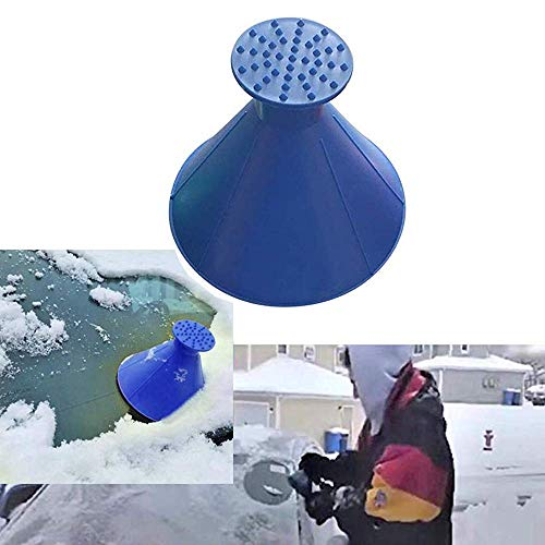 Windschild Eiskratzer EIN Rundes Magisches Kegelförmiges Kratzen-Schneeschaufel Werkzeug,Cone-Shaped Auto Windschutzscheibe Schneeräumung Fensterreinigungs Mit Schneepinsel