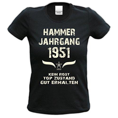 Damen-Kurzarm-T-Shirt Girlieshirt Hammer Jahrgang 1951 Geschenk-Idee zum 66. Geburtstag Geburtstagsgeschenk Farbe: schwarz und rot schwarz-01