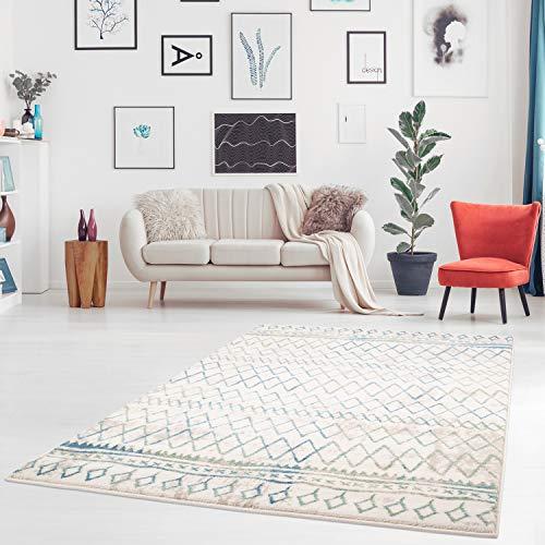 MyShop24h.de Teppich Flachflor mit Geometrischen Muster, Linien, Streifen, Modern, Meliert in Pastell-Blau, Mint, Creme, Beige für Wohnzimmer, Größe in cm:200 x 290 cm -