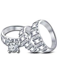 Silvernshine 1.75 Ct Diamond 14k White Gold Over Men & Women Engagement Wedding Ring Trio Set