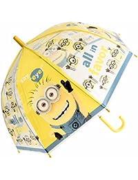 Chanos Chanos Minions Manual Dome Shape PoE Transparent Folding Umbrella, 48 cm, Yellow Paraguas