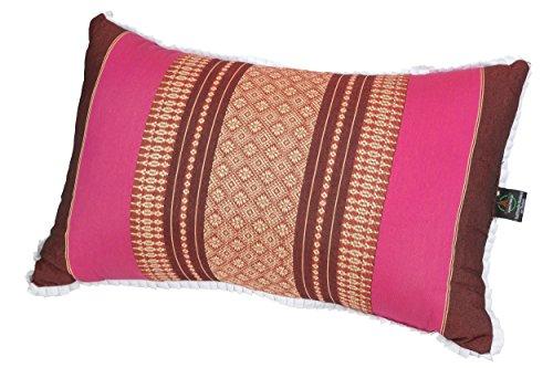Coussin 45x28cm, rembourrage de Kapok, design traditionel Thai, bordeaux-rose