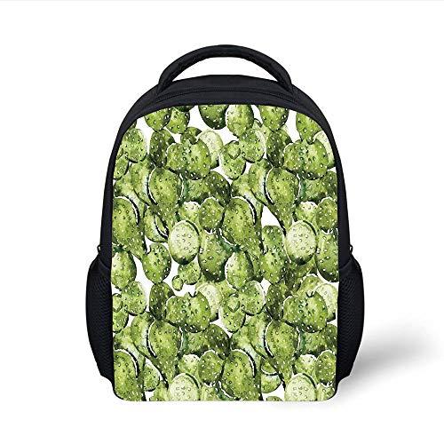 Kids School Backpack Cactus Decor,Cactus Petals Spikes Sun and Flowers in a Hot Mexican Desert Nature Beauty Art,Green Plain Bookbag Travel Daypack -