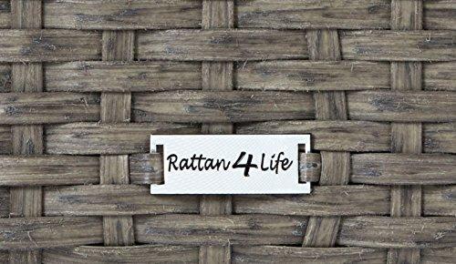 Rattan4Life Sitzgruppe Neapel, 4-teilig Deluxe Polyrattan Gartenmöbel Set, Sofa / Lounge / Gartengarnitur / Kissenbezüge, Rattan grau / braun, Bezug beige - 8