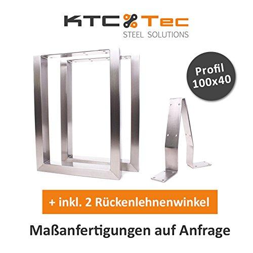Bankgestell Edelstahl TU100-400 40/38 + 2x RLW Bankuntergestell Bankkufen Kufengestell Sitzbank Bank (1 Paar)