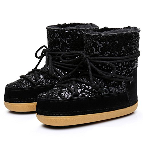 Winter Warm Velvet Sequins Sleeve Short Shoes Ski Space Boots,Black,37 EU-38 EU (Ugg Boots Prime)