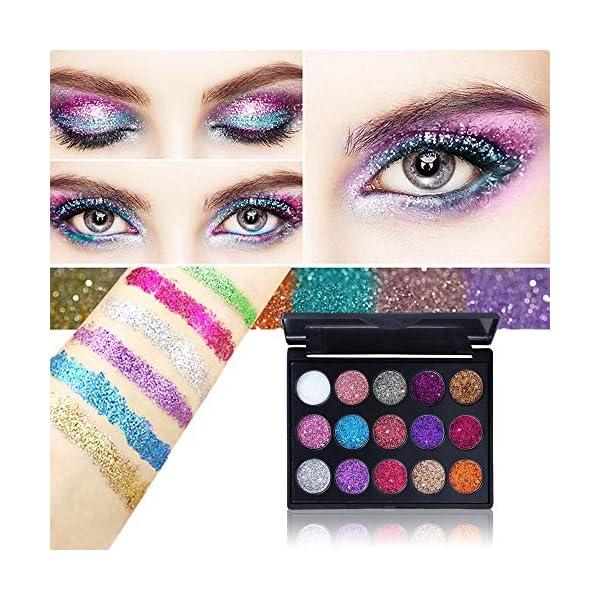 1 juego 15 colores de sombra de ojos Paleta de maquillaje Beauty con purpurina brillos metálicos para sombra de ojos…